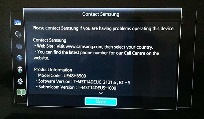 Problems updating samsung tv
